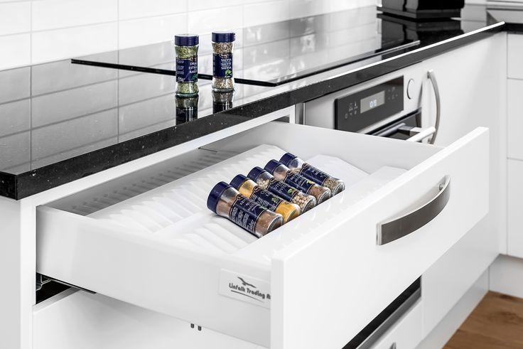 Storage solutions for drawers. Spice insert.  Förvaring till kryddor. Kryddinsats. Lådinsats.
