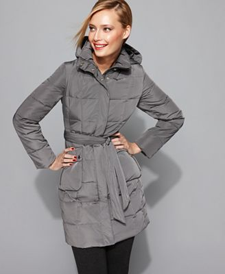 Calvin Klein Coat, Hooded Belted Down Puffer