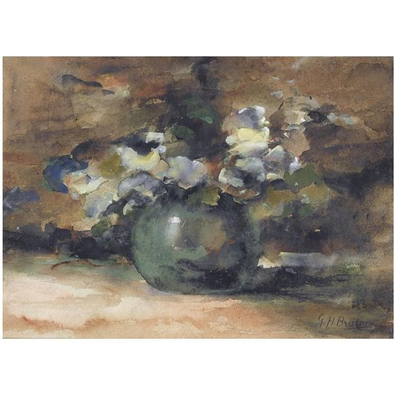 George Hendrik Breitner, a still life with daisies in a vase