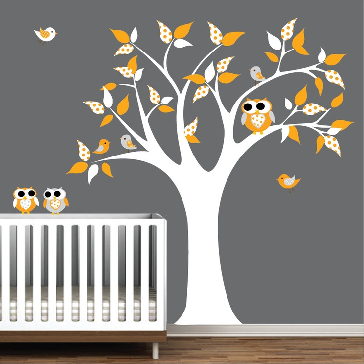 Baby Rooms White Owls Yellow Birds