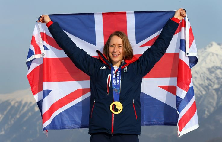Lizzy Yarnold celebrating her gold medal win in skeleton at the Sochi winter Olympic games.