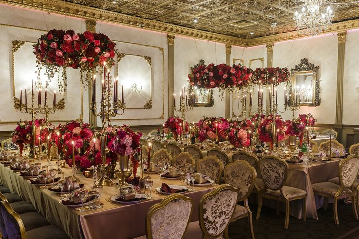 Luxurious Dolce & Gabbana inspired Wedding wedding design hanging flowers decor pink & red gold #beautiful