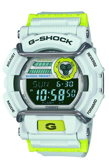 Free shipping and returns on G-Shock Digital Watch, 50mm at Nordstrom.com. Durable resin encases a sporty, oversized watch telling digital time on the LED-illuminated dial. World time, daily alarms, stopwatch and calendar displays are all protected by shock- and water-resistance. Punches of neon enliven the textured strap.