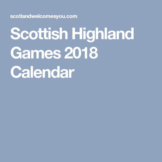 Scottish Highland Games 2018 Calendar