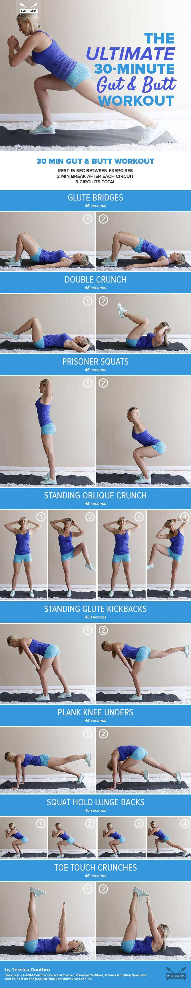 Tone and strengthen your core and rear with this 30-minute gut & butt workout – no equipment necessary! For the full workout, visit us here: http://paleo.co/gutbuttworkout