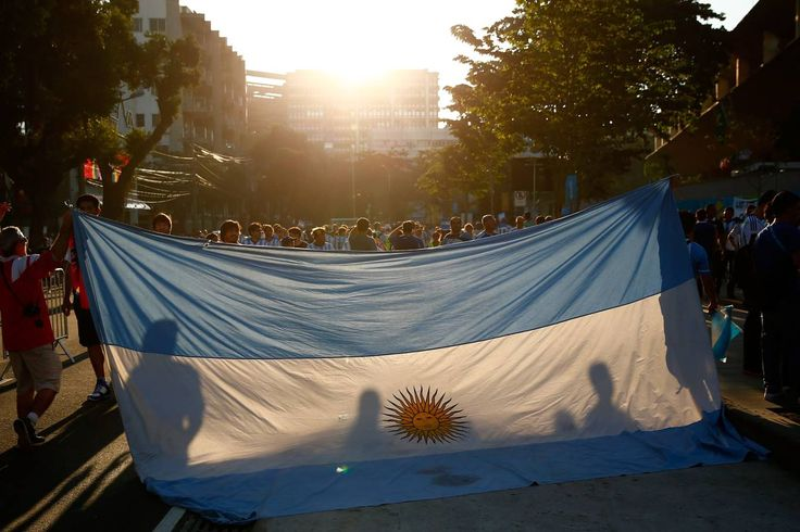 Bandeira da Argentina no final da Copa de 2014 no Brasil