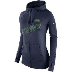Women's Seattle Seahawks Nike College Navy Stadium Game Day KO Full Zip  Performance Hoodie
