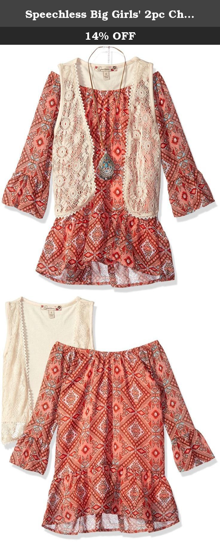 Speechless Big Girls' 2pc Chiffon Bbdoll W/ Vest, Coral/Brown, Medium. Two piece three quarter length bell sleeve peasant top with crochet vest and necklace.