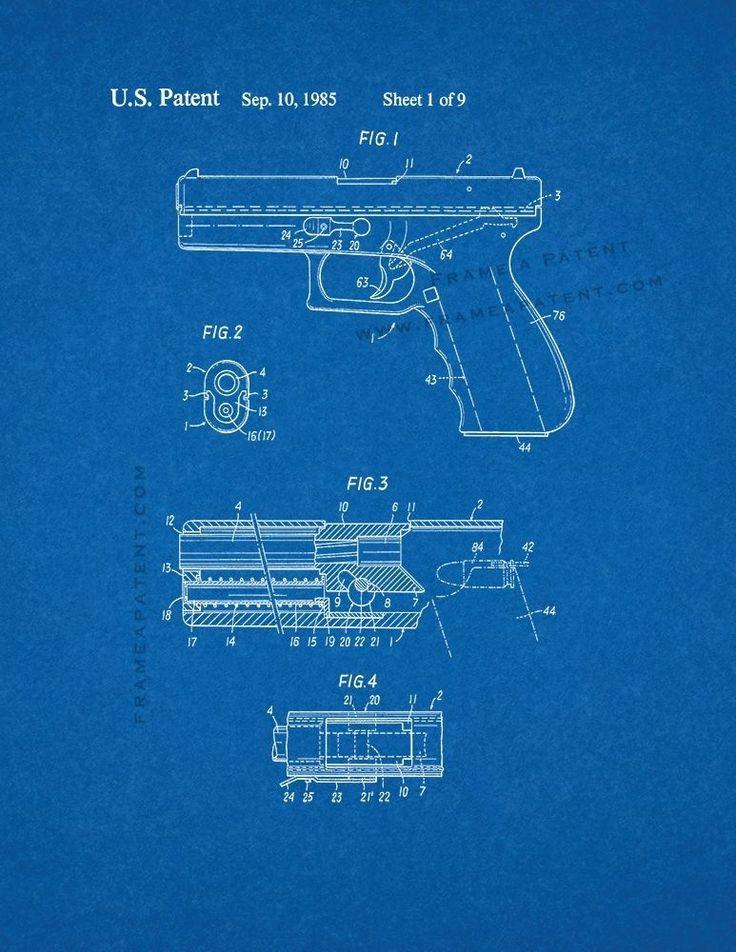 Details About Glock 17 Gun Patent Print Blueprint Glock