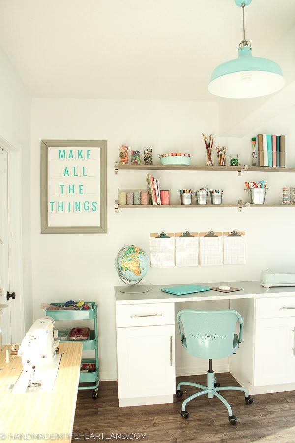 beautiful inspiring white and aqua craft space