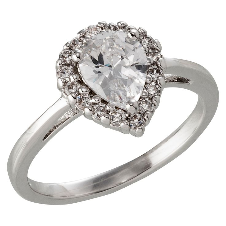 Silver Plated Pear Cut Halo Cubic Zirconia Engagement Ring - Size 7, Women's