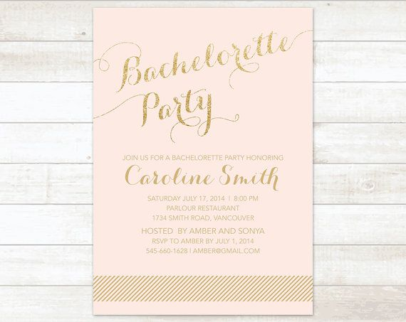 gold pink bachelorette party invitation pink gold glitter printable modern stagette party digital invite customizable