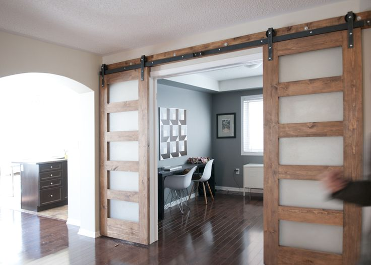 130 best workspace images on pinterest industrial for Barn doors for home office