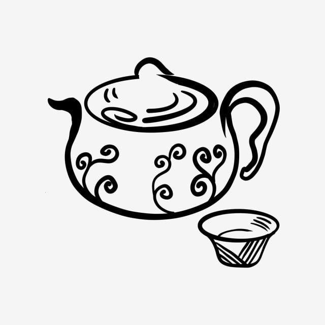 بسيطة وبسيطة الكرتون رسم إبريق الشاي النمط الصيني الحبر مجموعة الشاي الكرتون النمط الصيني رسم Png وملف Psd للتحميل مجانا Easy Cartoon Drawings Simple Cartoon Cartoon Drawings