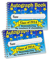 Aut Boo - Autograph Books Great last day of school, leavers gift!. A hardback, spiral bound, colourful School Autograph Book with an acrylic dust cover and 50 white inner pages. Minimum Quantity 30. DELIVERY! NOW 15 WORKING DAYS.