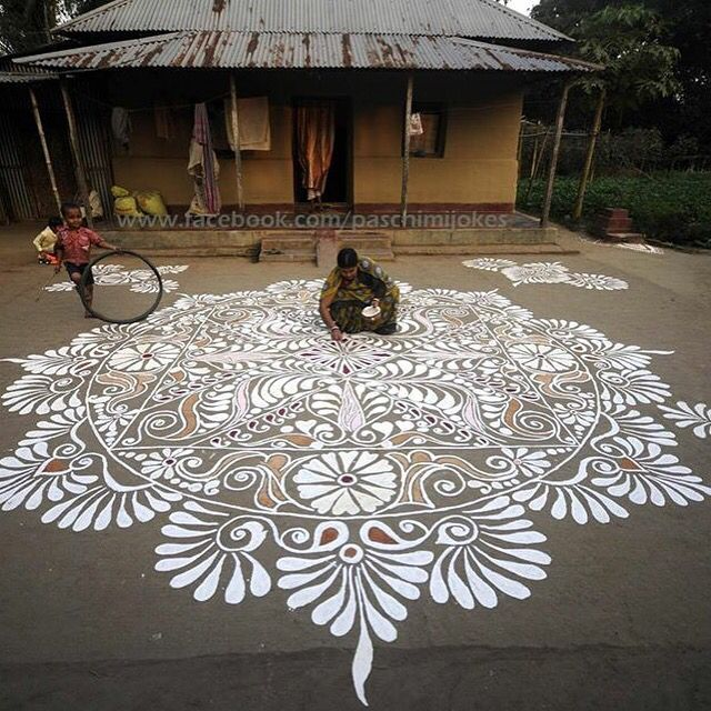 Tradition of drawing colorful rangoli on festival days in India.
