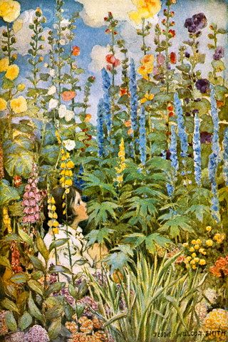Jessie Wilcox Smith cottage garden. Beautiful foxgloves, delphiniums and hollyhocks. Lovely!