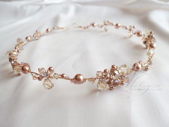 Rose Gold Crystal Bridal Headband     Sparkling by LysaCreation, $193.00