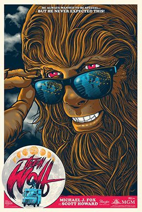 """$45 Teen Wolf Movie poster available at skuzzles.com - limited edition of 165 - Size 24"""" x 36"""" - Artwork by Ghoulish Gary - Silk screened by D screenprinting - Officially Licensed MGM - Featuring Michael J Fox as Scott Howard"""