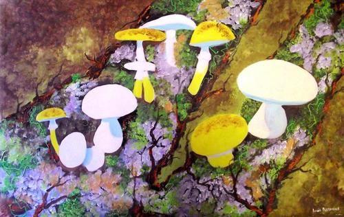 "Buy AN ORIGINAL LOUIS PRETORIUS:""Mushrooms growing on wood trunk"" (900mm x 550mm x 20mm)for R3,000.00"