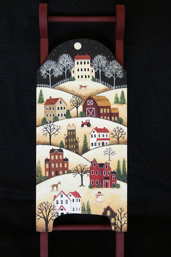 Hand Painted Folk Art Sled Saltbox Village by RavensBendFolkArt