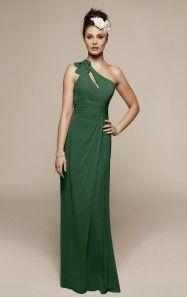 A-line Floor-length One Shoulder Dark Green Dress