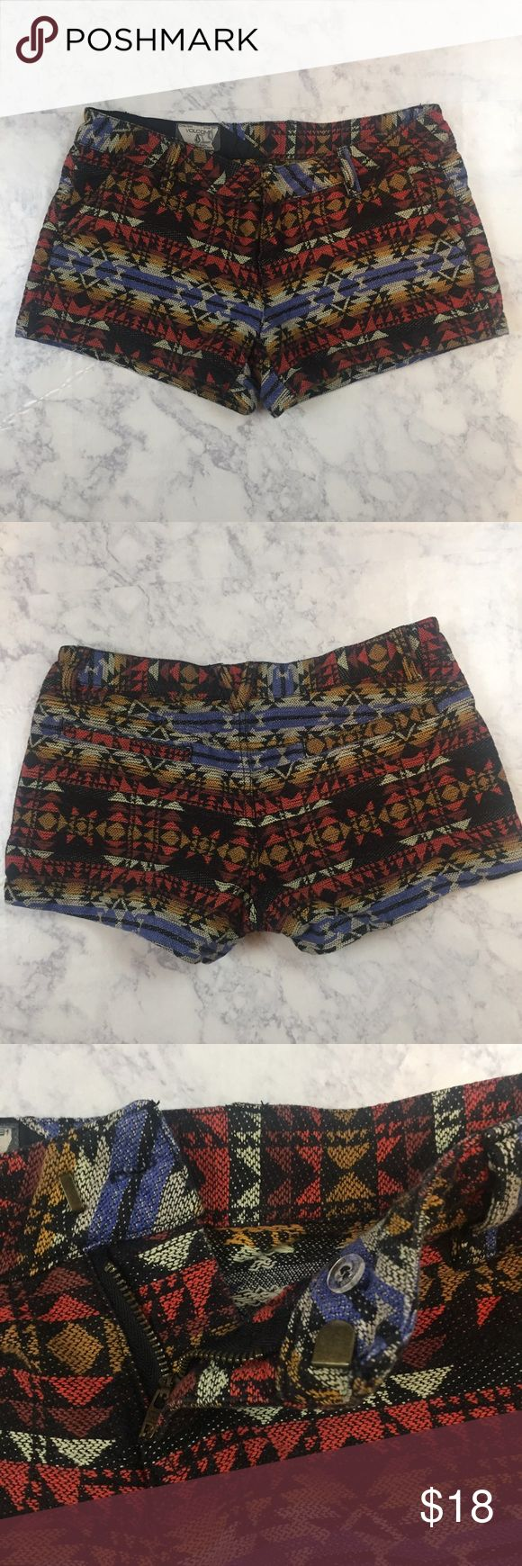 "Volcom Aztec Print Shorts Size 3 Super cute and trendy Shorts, great condition.  Size 3 Length 10"" Waist 15""  Laid flat, unstretched Volcom Shorts"