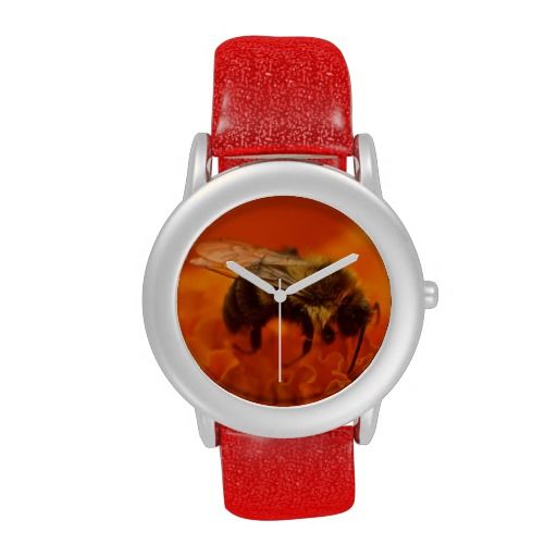 Bee on Orange Flower Wristwatch