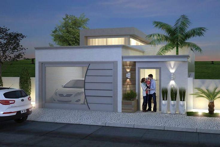 Plano de casa con alta techos de cristal