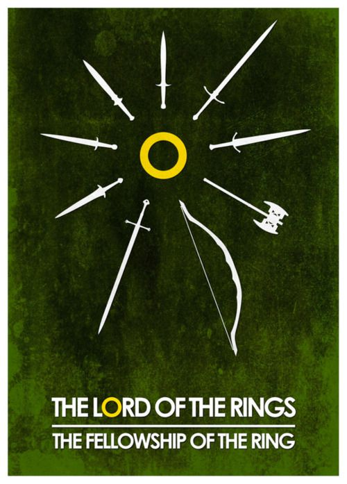 One of the best Lord of the Rings posters I've seen, yet I feel one of the swords should be Gandalf's staff instead...