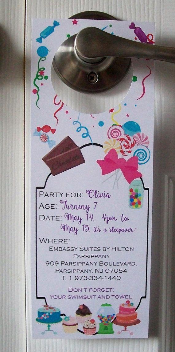 BIRTHDAY INVITATION Door Hangers  Hotel Slumber Party