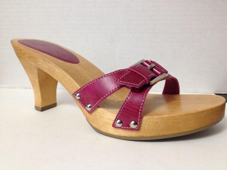 MIA Shoes Womens Size 7 Purple Heels Sandals Wood Soles Nonslip Open Toe 7M  | eBay