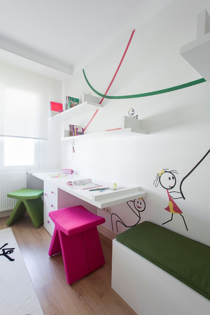 Interior Design Idea - 11 Essentials For Kids Homework Stations // Share the space -- Depending on the kids, shared study spaces can be great. It allows the kids to encourage and help each other and makes it easier to have friends over after school because it creates a place for both kids to do their homework together.