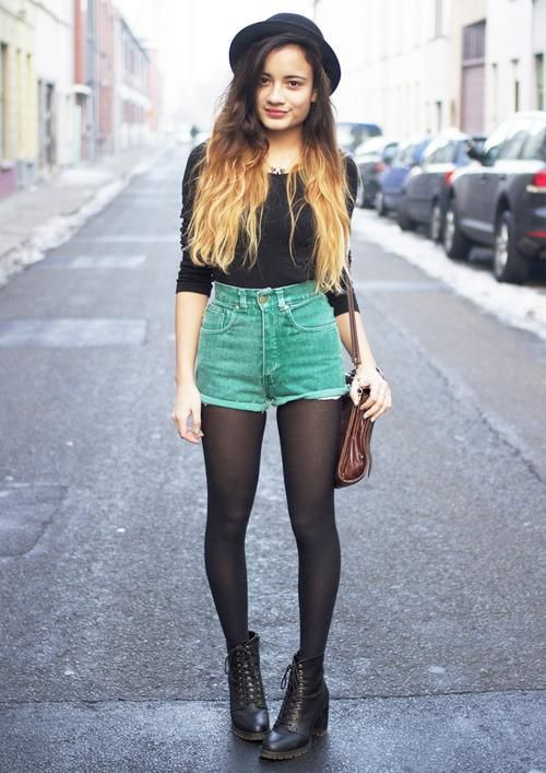 Grunge | Black Medium-Sleeve Shirt, High Waist Green Denim ...