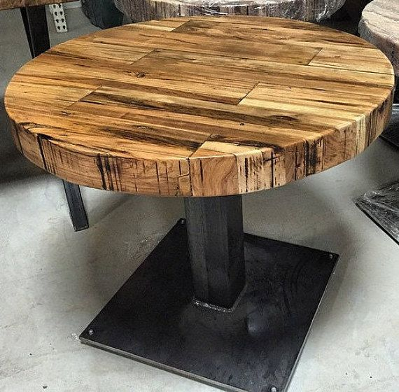 Butcher Block Round Table Reclaimed Wood Pedestal by