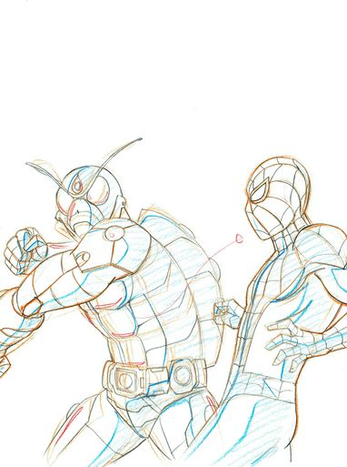 Ultimate Spider-Man Original Marvel Animation Art featuring the Beetle and Spider-Man Fight Scene.