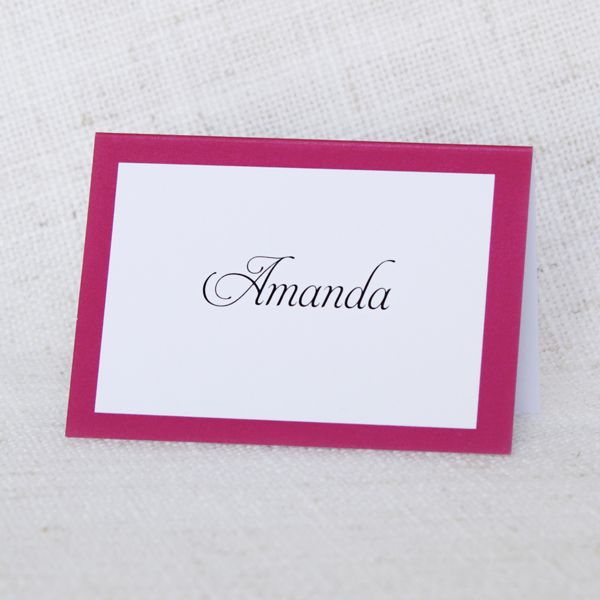 Bright Pink Bordered Placecard