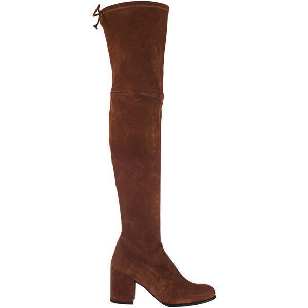 3e8a55dcac0 STUART WEITZMAN Tieland Saddle Suede Walnut    Suede overknee boots ( 720)  ❤ liked