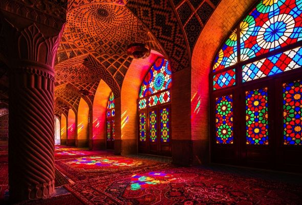 Nasir Al Mulk mosque, Shiraz, Iran - The mosque welcomes a rainbow of colors when light shines through the stained glasses on the windows - 4 l Photo Dav Wong