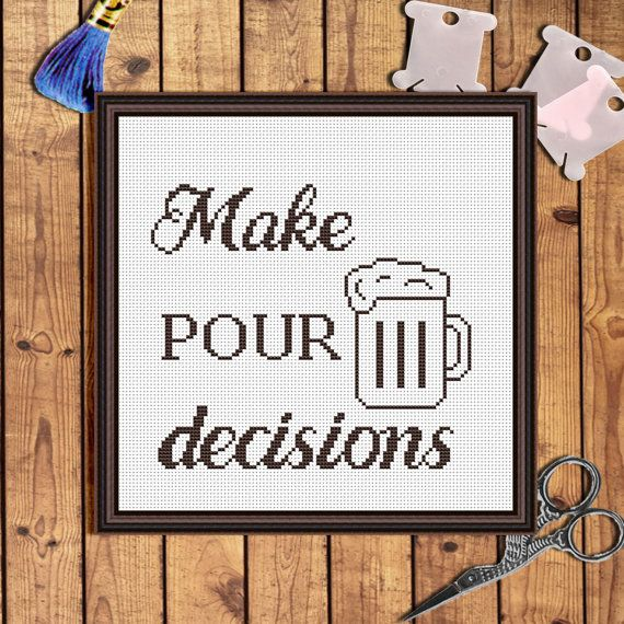 Drink cross stitch Beer gifts Beer lover gift Quote by AnnaXStitch