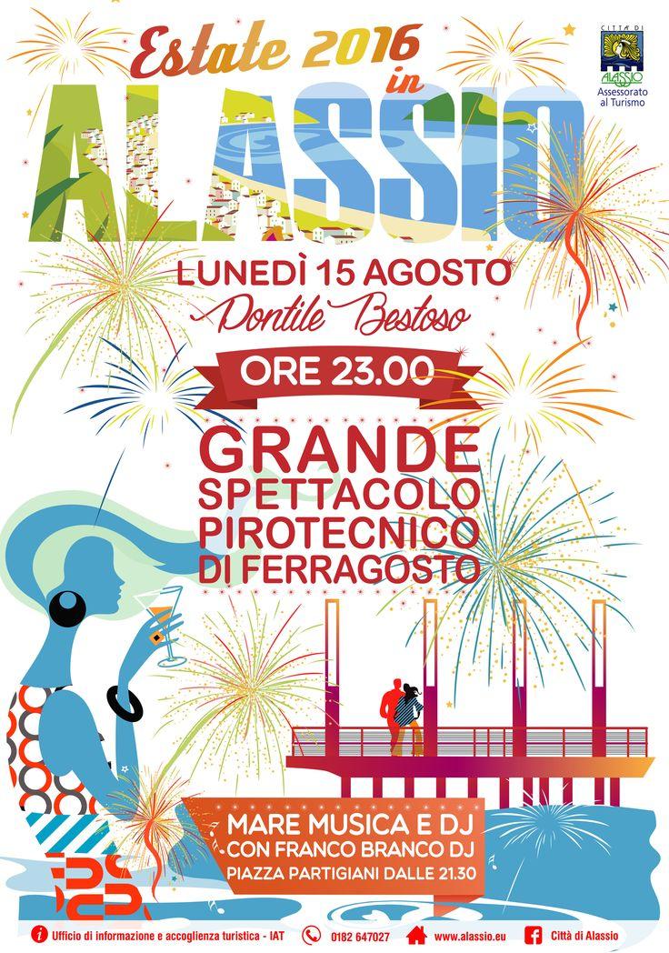 Spettacolo pirotecnico 15 agosto 2016 - Grafica per Ufficio Turistico di Alassio
