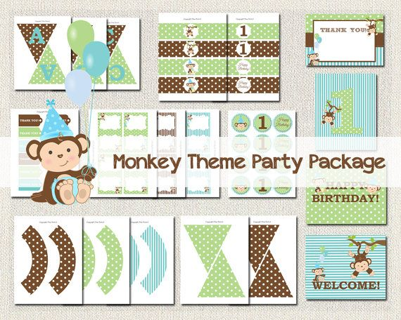 Monkey Theme Printable Party Package Boys by PixiePerfectParties