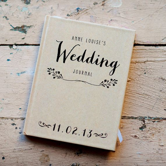 Wedding Journal, Notebook, Wedding Planner - Personalized, Customized, Wedding Date and names, custom design, Kraft paper look