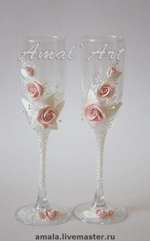 """Купить фужеры """"Чайные розы"""" - свадебные бокалы, купить свадебные бокалы, бокалы для шампанского"""