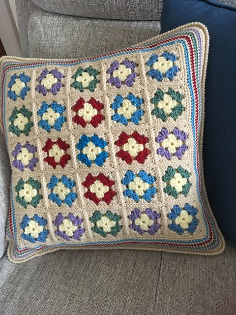 This pattern has Granny Squares, Slip Stitch joining, Crab Stitch, Treble Crochet and Double Crochet stitches.