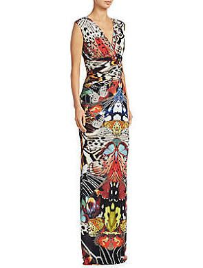 Roberto Cavalli Women s Butterfly V-Neck Maxi Dress - Black Copper ... 637fb697ee