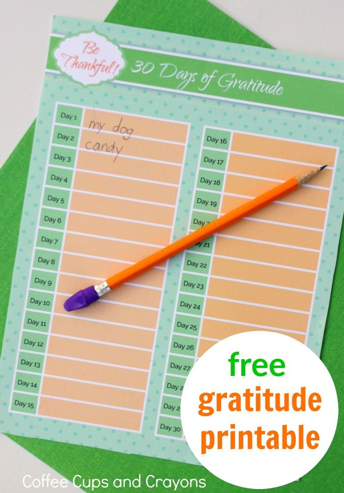 30 Days of Gratitude! An easy way to teach kids to be more thankful--free printable makes it so good!
