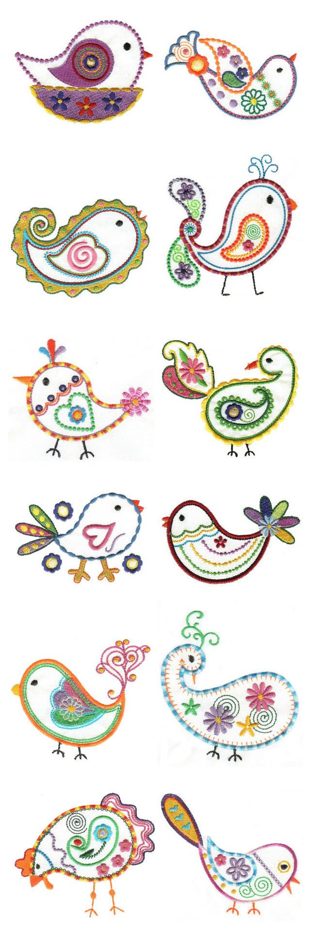 Embroidered birdies. These are cute