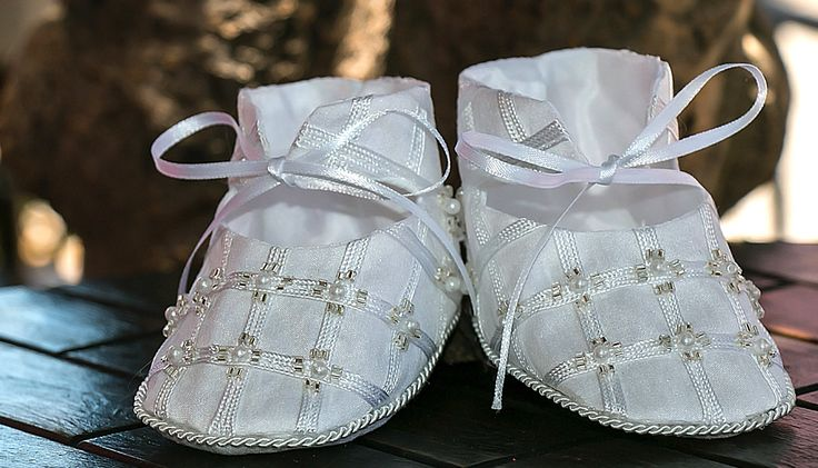 White or Ivory Embroidered Girl Shoes - Baby and Toddler - Christening or…