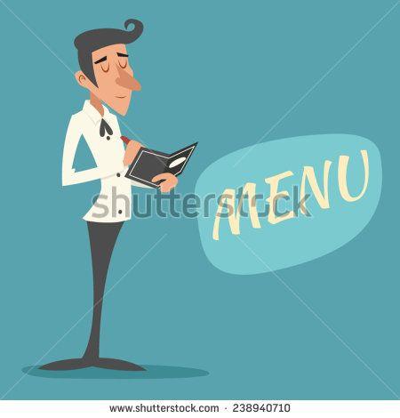 Vintage Waiter Garcon Accepts Order Symbol Restaurant Menu Icon on Stylish Background Retro Cartoon Design Vector Illustration